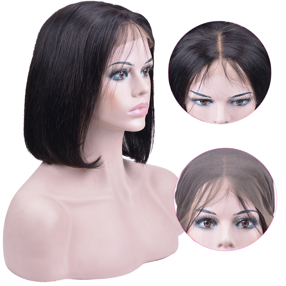 Lace Front Human Hair Wigs Malaysian Straight Short Bob Wigs For Black Women Remy Human Hair