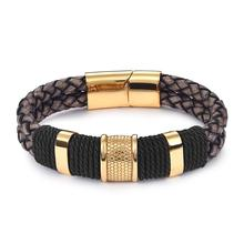 лучшая цена Ourania Braid Genuine Leather Bracelet Titanium Stainless Steel Bracelet Men Woven Bangle Black / Brown / Blue /Red Color