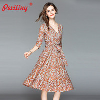 Peritiny 2018 Casual Vestidos Formal Dress Women Elegant V Neck Half Sleeve with Bowknot Sashes Summer Autumn Lace Dresses Women
