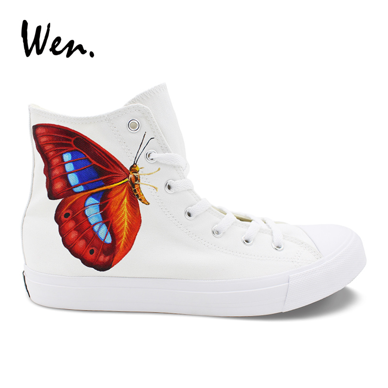 Wen Custom Design Canvas White Shoes Animal Butterfly Hand Painted Sneakers  High Top Men Women s Athletic Skateboard Shoes 8f30435fd