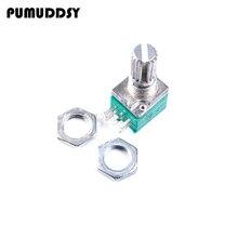 5pcs RK097G 20K single linked potentiometer B20K with a switch audio 6pin shaft 15mm  amplifier sealing potentiometer