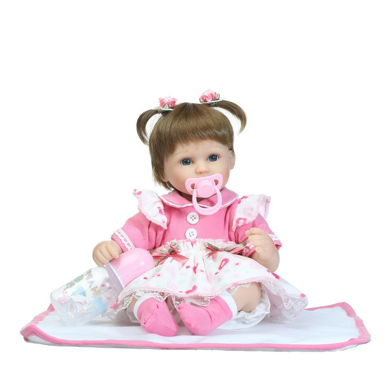 40cm Soft Silicone Dolls Reborn Baby 18 Collection Doll Brown Wig Girl Handmade Cotton Body Lifelike Bebe juguetes Babies Toys