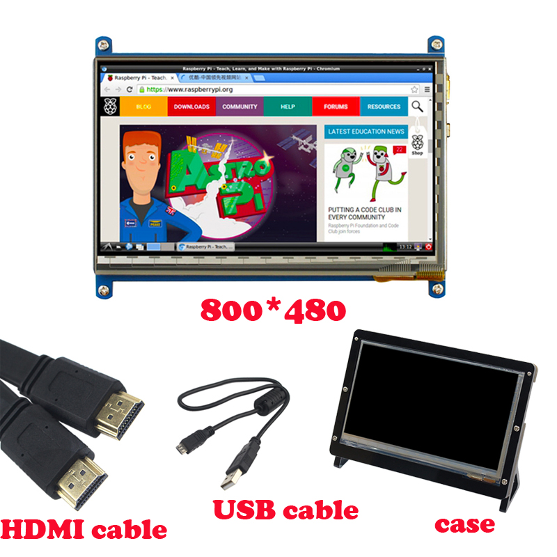 7 Inch 800*480 Raspberry Pi LCD TFT Display + Acrylic Bracket Case+ HDMI Cable+USB Cable for Raspberry Pi 3 Touch Screen