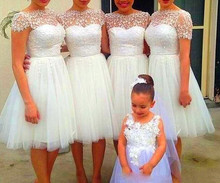 Sheer Neck A Line Short Bridesmaid Dress Appliques Short Sleeve Tull Maid of Honor Knee Length