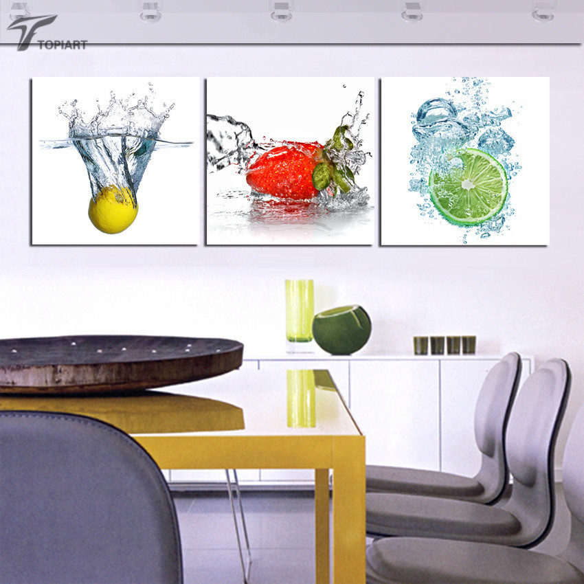 Modern decor wall art pictures canvas prints fresh fruit in water painting for room kitchen wall - Fresh modern decor ...