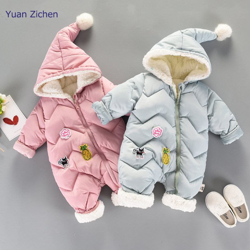 New Baby Clothes Winter Romper Cotton Padded Thick Newborn Baby Girl Boy Warm Jumpsuit Autumn Cute Overalls for Romper newborn 2017 autumn and winter new girl cartoon plus cashmere cardigan women baby out jackets thick dress princess dress533