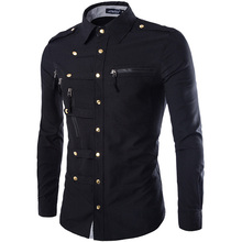 Casual Men Shirt Vintage Slim Long Sleeve New Designed Fashion Solid Military Style Male Tops Breathable D40