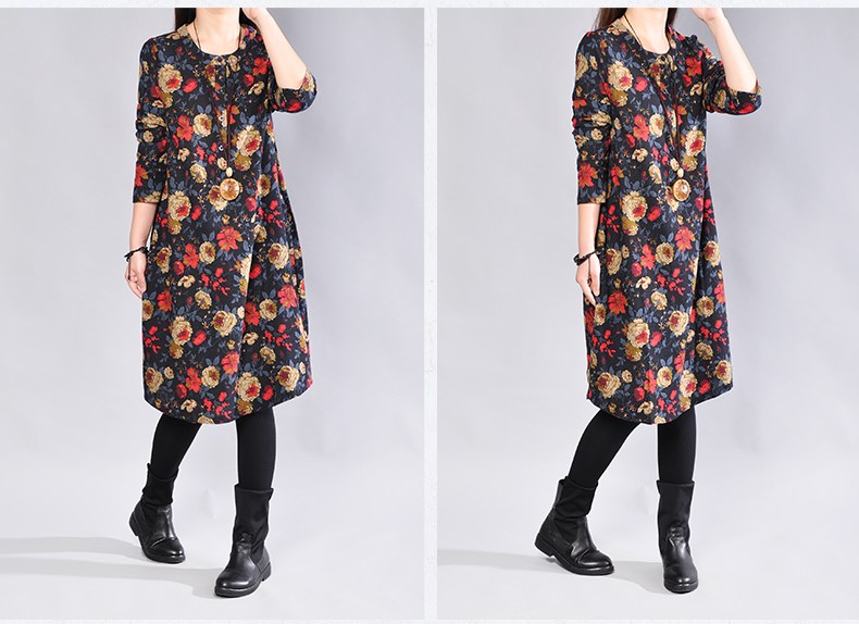 Women s Cotton   Linen Plus Size Retro Floral Print Mid Long Dress lagenlook  Lady voguees Trend long shirts linen tunics-in Dresses from Women s Clothing  on ... 97c2cbd46d9e