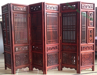 14.75 inch Exquisite Hand carved Chinese Boxwood & Sculpture Folding Screen Home decoration tabletop decorative crafts