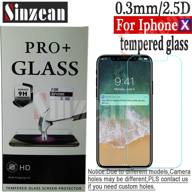 Sinzean For iphone X Tempered Glass screen protector with new package by DHL  0.3mm 2.5D