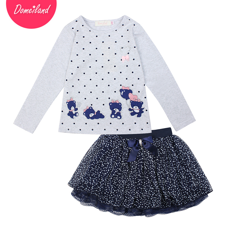 2017 Fashion spring brand domeiland Children clothing Outfits 2pcs Kids Girl cotton cartoon long sleeve T-Shirts skirts clothes cotton cartoon t shirts