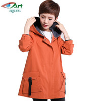 2018 Spring large size windbreaker Women coat loose casual autumn hooded coat tops basic windbreaker jacket Plus size 6XL AS474
