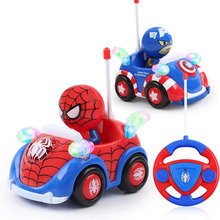 2017 New Hot Marvel Spiderman Captain Xmas Toys Music Light Remote Control RC Car Christmas Gifts for Boys Kids Auto Show cars