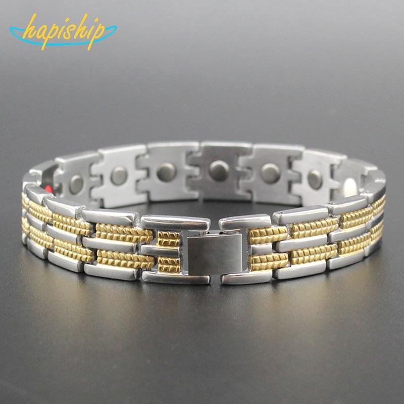 Hapiship 2017 Healthy Stainless Steel Magnetotherapy Bracelet Men Jewelry New Fashion Bio Energy Magnet Bracelets & Bangles 4506