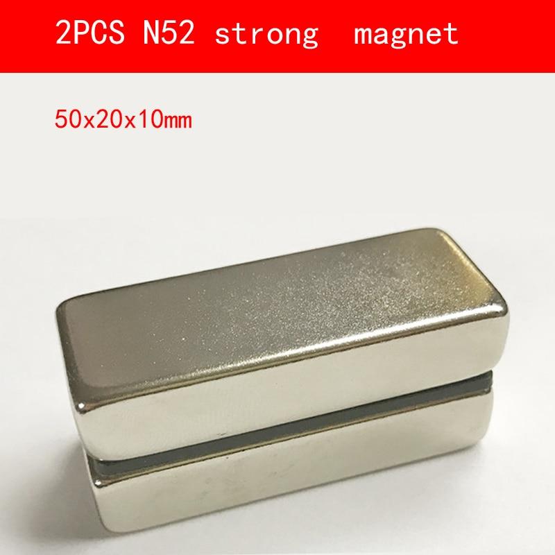 2PCS block 50x20x10mm N52 Super Powerful Strong Rare Earth Block NdFeB Magnet Neodymium Magnets