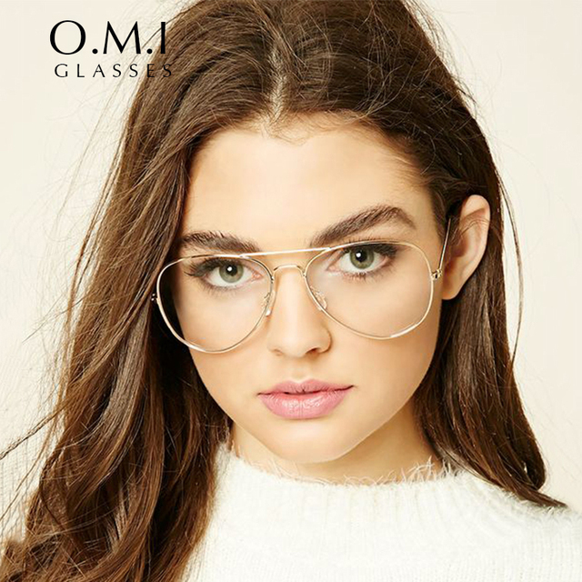 44c2447fd8 2017 Oversized Clear Aviator Glasses Women Ray 3025 Transparent Optical  Lens Metal Frame Fake Eyeglasses Brand Designer OM293