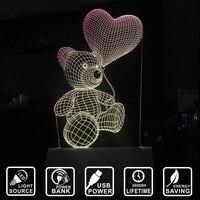 Светодиодный ночник Мишка с сердцем 3D визуальные Творческие меню карты LED акрил настольные лампы банка Декор лампы IY803327-39PB