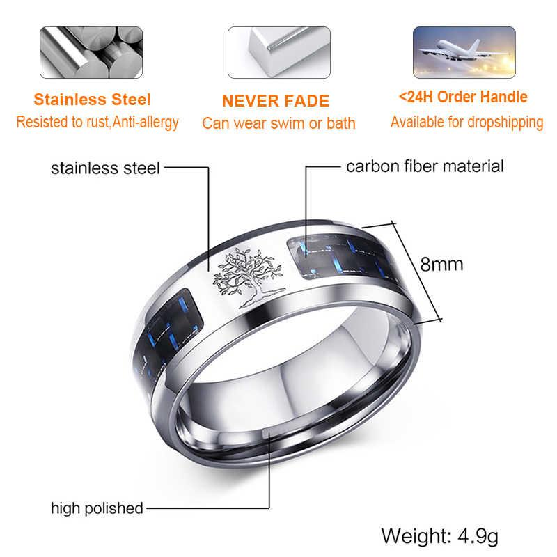 Vnox 8mm personalizar anel de fibra de carbono para o homem gravado árvore da vida aço inoxidável masculino aliança casual personalizar pulseira de jóias