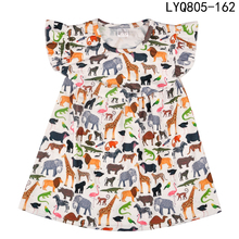משלוח חינם באיכות גבוהה בוטיק מהדורה מחודשת אופנה רפרף שרוול ילדה שמלה קיץ פוליאסטר כותנה בגדי ילדים