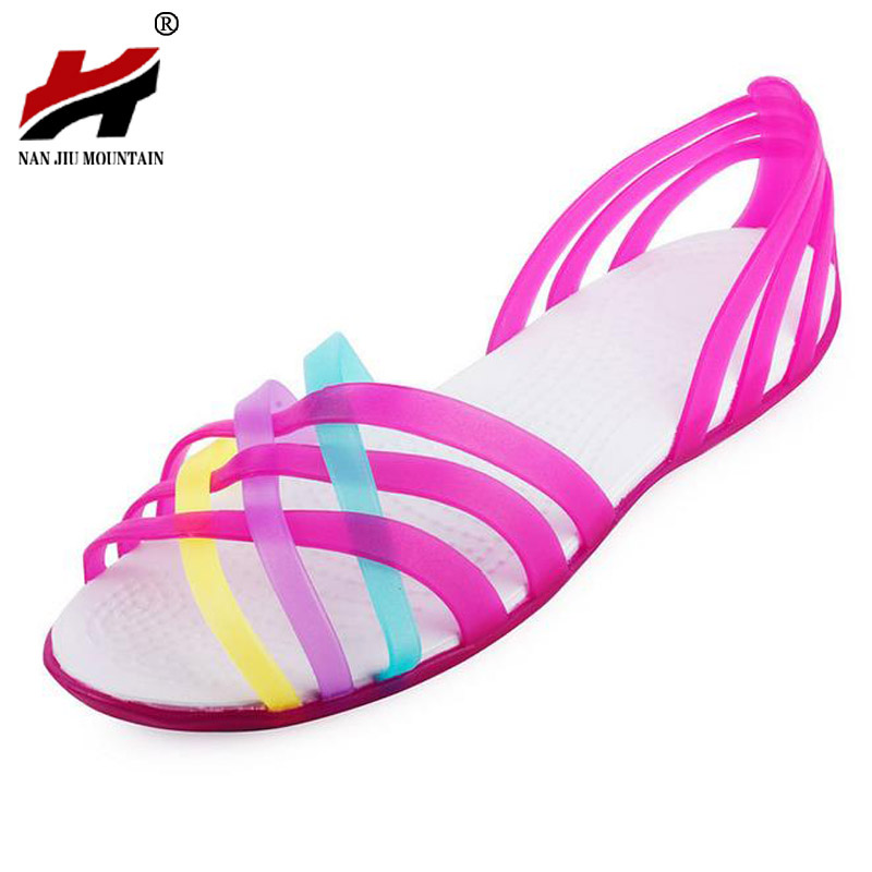 Sandals Summer Peep Toe Beach Jelly Shoes Woman Flats