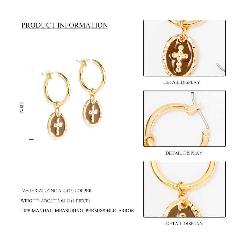 Selvagem & livre vintage pequenos brincos de argola para mulher menina esmalte ouro moeda redonda cruz charme pingente brinco piercing brincos jóias