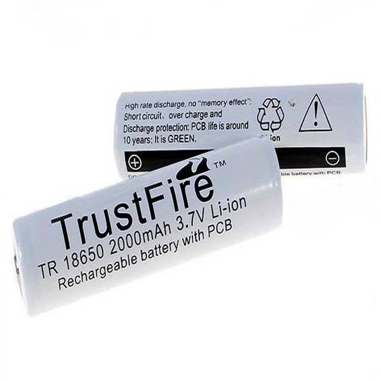 5pcs/lot TrustFire Protected TR 18650 2000mAh 3.7V Li-ion Rechargeable Battery with PCB Power Source For LED Flashlight