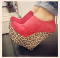 Red Ankle High Leopard Wedges Women Shoes Closed Toe Platform Women Designer Shoes Heel Shoe Wedges High Heels Made-to-order