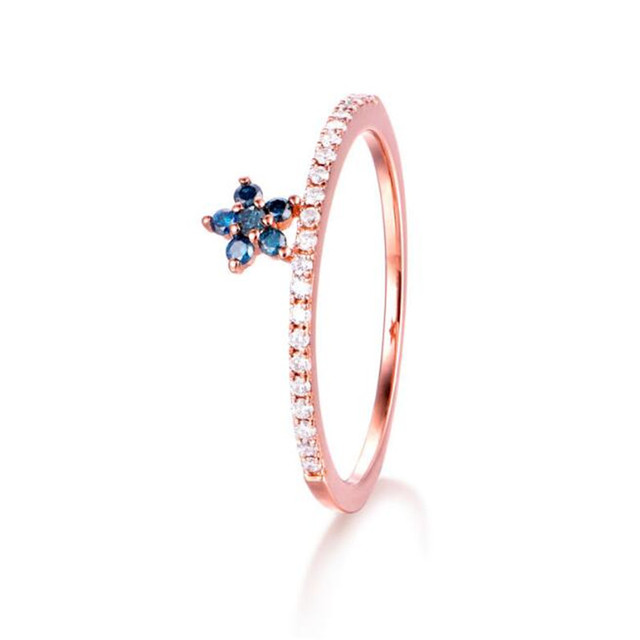 Christmas Gift 18K Gold Beauty Princess Ring Jewelry Austrian Crystal Flower Rings For Women Rose Gold Color Accessories