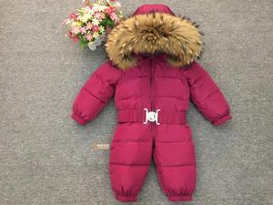 Image 2 - Russia Winter Newborn Baby Hoodie Big Fur Collar Boys Warm Outerwear Jumpsuit Baby Clothing Parka Snow Wear Girls Coats Jacket