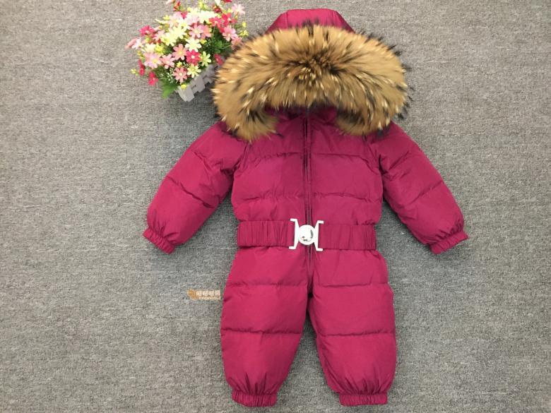 Russie hiver nouveau-né capuche pour bébé grand col en fourrure garçons chaud survêtement combinaison bébé vêtements Parka neige porter filles manteaux veste - 2