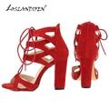 Loslandifen New moda sapatos sandálias de Faux Velvet abrir Toe Ankle Straps praça salto alto verão de noiva de 368A-VE