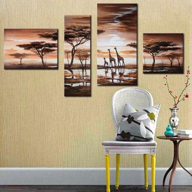 4 Pcs/Set No Framed Animal Oil Painting Giraffee African Grassland ...