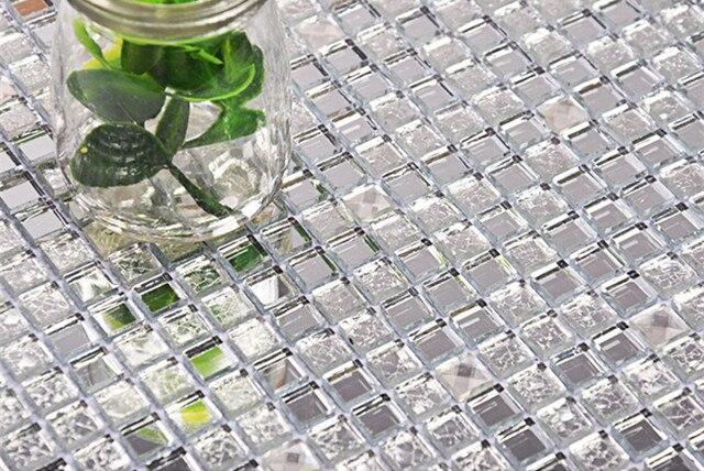 10mm 13 Facetten Silber Kristall Spiegel Glas Mosaik Fliesen Küche  Backsplash Badezimmer Dusche Flur Showroom