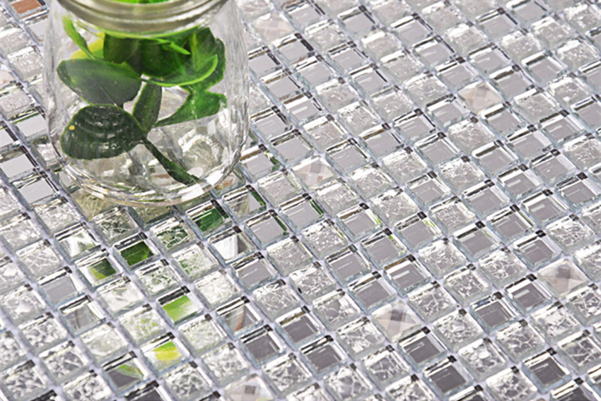 13 Beveled Silver Crystal Mirror Glass Mosaic Tiles