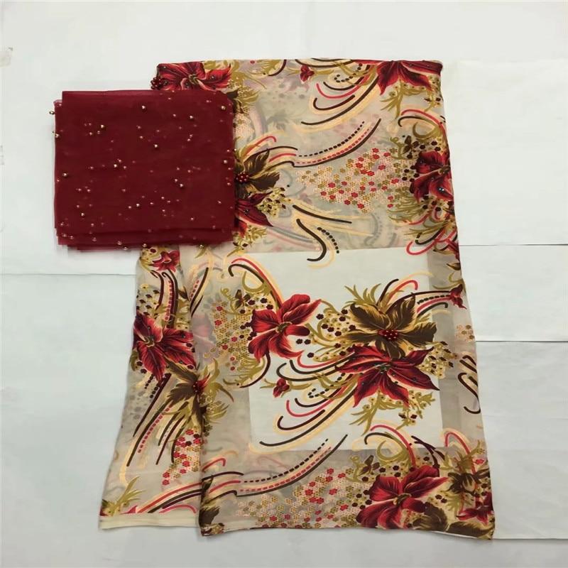 High quality silk fabric for lady dress embroidered george silk fabric African metallic silk fabric 114cm