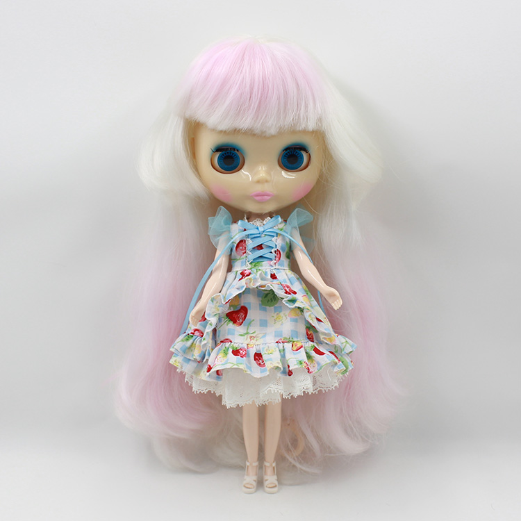 Beaukiss Blyth Nude Doll Model White Long hair With Light Pink Bangs Fashion DIY Doll Toys For Girls Gifts