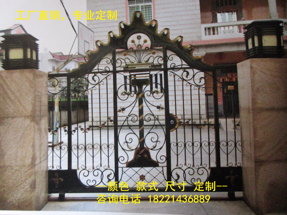 Custom Made Wrought Iron Gates Designs Whole Sale Wrought Iron Gates Metal Gates Steel Gates Hc-g37