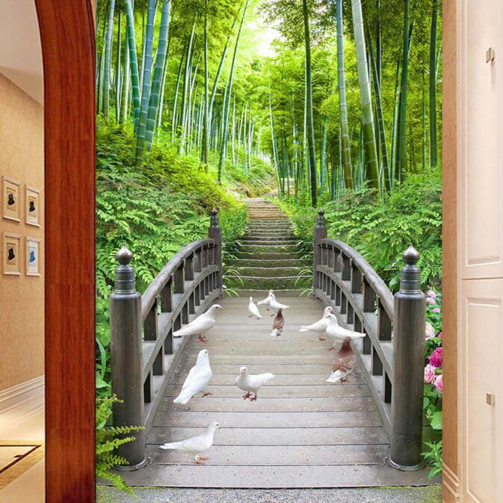 Photo Wall mural Wallpaper Entrance for Living Room Wall Art Decor Murals Pigeon Bridge Bamboo 3D Wall Paper Custom Any Size custom photo 3d ceiling murals wall paper blue sky rose flower dove room decor painting 3d wall murals wallpaper for walls 3 d
