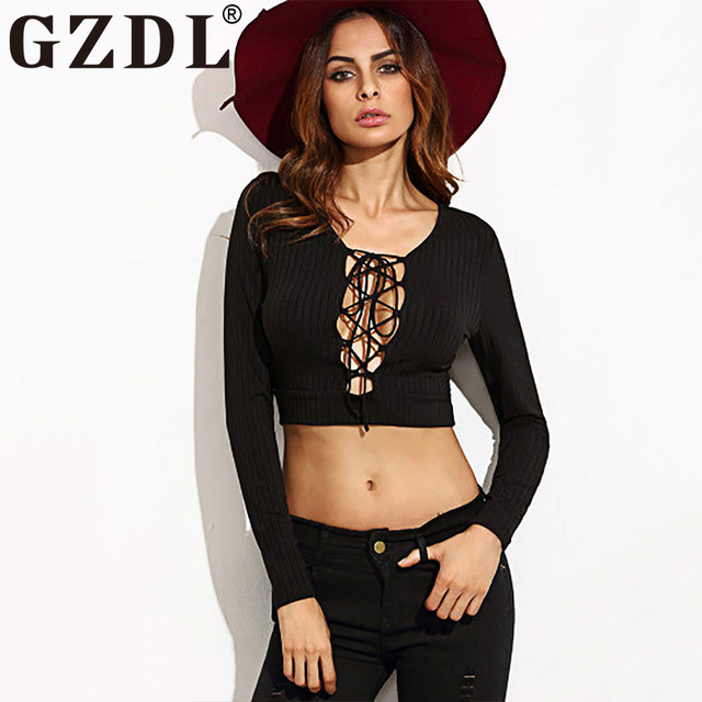 44a4354b44a GZDL Black Open Front Lace Up Women Top Pullover Split Deep V Long Sleeve  Blouse Knitted Women's Casual Autumn Crop Tops CL3238