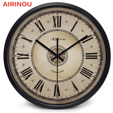 Airinou Европейский стиль, Римский Ретро металлический каркас, стеклянные Семейные настенные часы для гостиной, Холла отеля, 3 размера