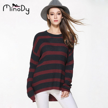 Minody Plus Size Pullover Sweater Women Autumn Winter Spring Casual Striped O Neck Long Sleeve Loose Knitting 2017 Sweaters Xxxl