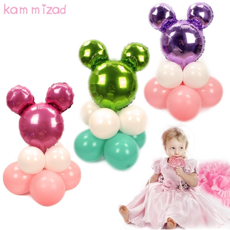 KAMMIZAD 9pcs minnie Balloon black blue pink Happy Birthday Column Balloons Party Decoration Kids Boy Girl Ballon