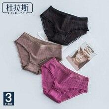 3pcs/lot Cotton Panties Female Sexy Lace Briefs Women Underwear Thread Lingerie Ladies Underpants For Girls Pantys DULASI