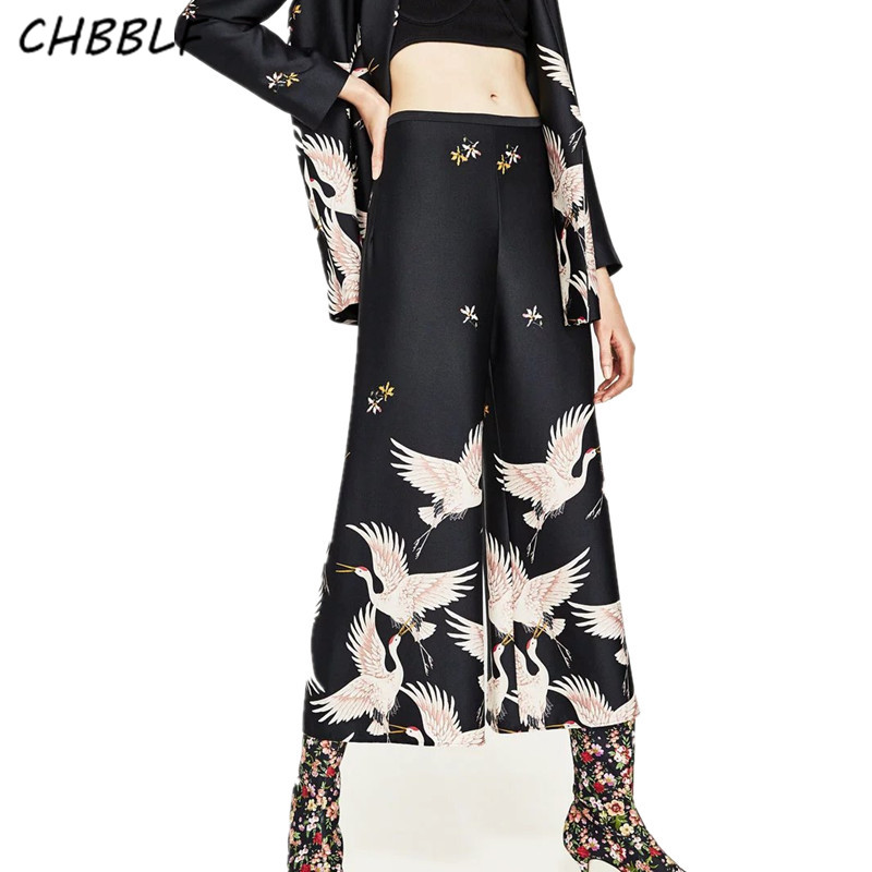 New Spring European Printing   Wide     Leg     Pants   Fashion Loose High Waisted Trousers Culottes Pop156