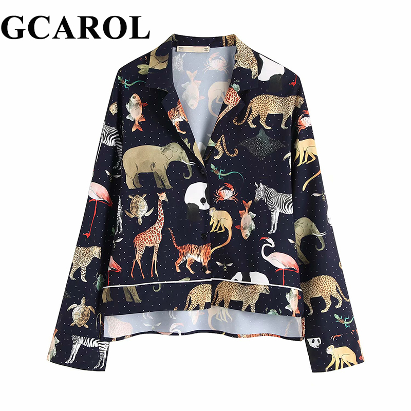 GCAROL 2019 Spring Women Long Sleeve Animal Print Blouse Notched Collar Loose Crop Tops Vintage Asymmetric Length Casual Shirts(China)