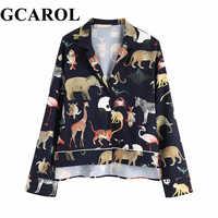 GCAROL 2019 printemps femmes à manches longues imprimé Animal Blouse col cranté lâche Crop hauts Vintage asymétrique longueur chemises décontractées