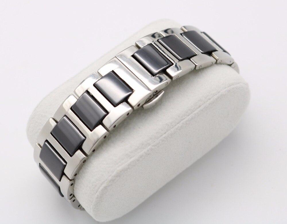 16 18 20mm Silber Massivstahl Uhrenarmband Gurt Armband Schwarz Weiß - Uhrenzubehör - Foto 2