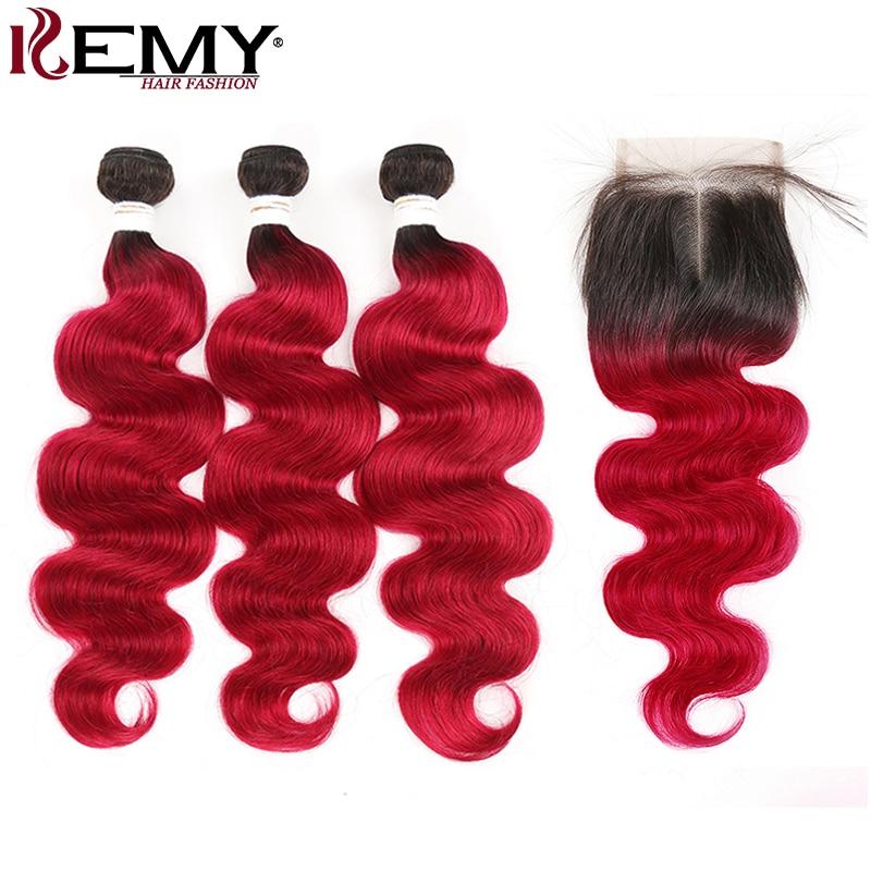 1B 99J Burgundy Body Wave Bundles With Closure KEMY HAIR Two Tone Dark Roots Human Hair