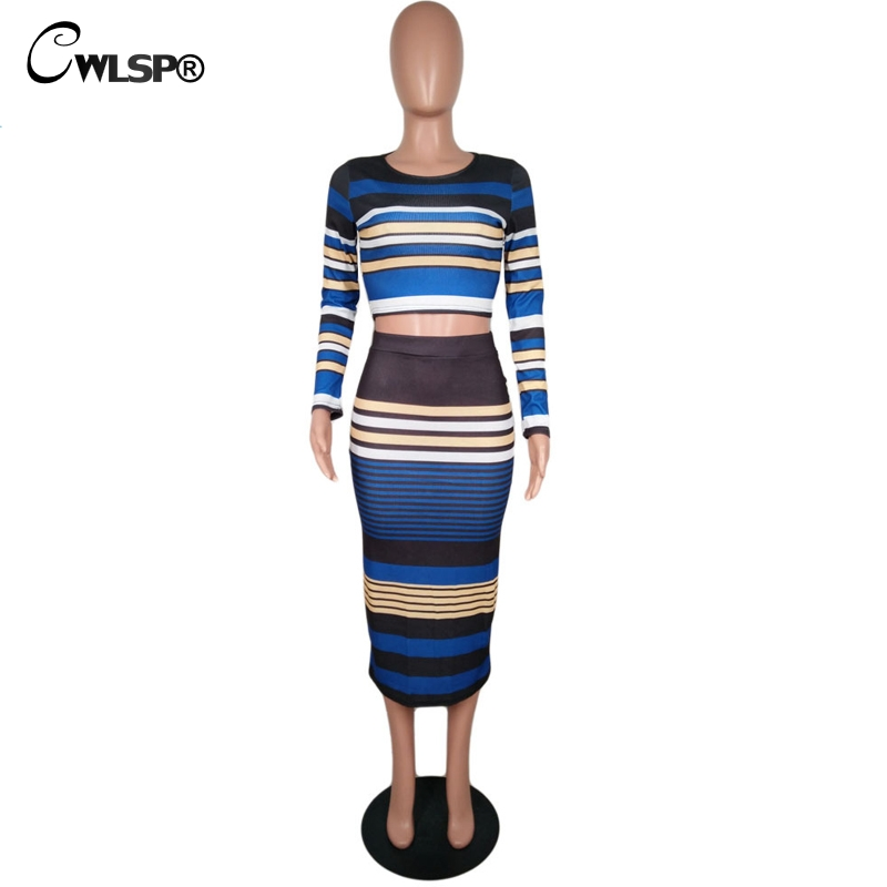 Casual Two piece set Knitted Striped dress Ribbed 5