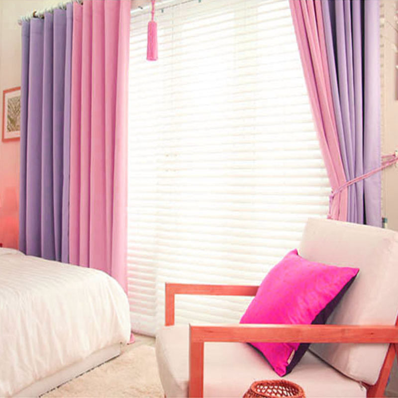 Korean Purple/Pink Blackout Curtains For Living Room